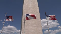 Washington Monument 3 Flags Blowing in the Wind Pan Up Stock Footage