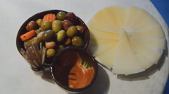 Marinated Olives And Feta Cheese - stock footage