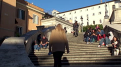 Tourists at the Spanish Steps. Piazza di Spagna, Rome Stock Footage