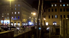 Largo di Torre Argentina at night, Rome Stock Footage