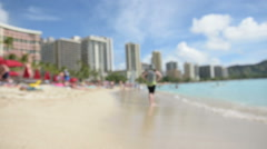 Beach background blurry out of focus Stock Footage