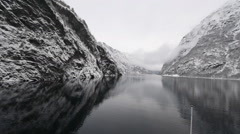 Beautiful mountain landscape with the Norwegian fjords in winter Stock Footage
