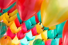 Colorful balloons with happy celebration party background Stock Photos
