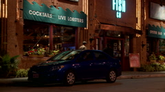 Exterior establishing shot of a seafood restaurant. Stock Footage