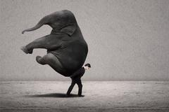 Business manager carry elephant on grey - leadership concept - stock photo
