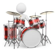 3D white people. Musician playing drums - stock illustration