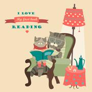 Cat and kitten reading book Piirros