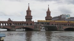 Oberbaum Bridge in Berlin, Germany Stock Footage
