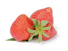 Beautiful organic fresh strawberries directly from garden - stock photo