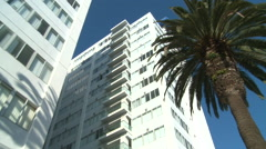 Slow zoom into a high rise apartment building in California or Miami Beach. Stock Footage