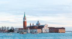 Island and church of San Giorgio Maggiore, Venice. - stock photo