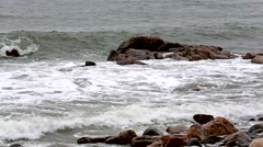 Waves pounding rocks coastal Maine Stock Footage