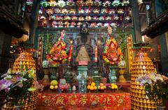 Main altar at Pak Tai Temple, Wanchai, Hong Kong - stock photo
