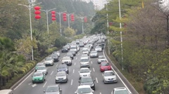 Shenzhen, China: road traffic congestion - stock footage