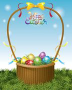 Stock Illustration of Easter Eggs in Basket and Ribbon Decorate