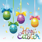 Stock Illustration of Easter Eggs Hanging Decorate