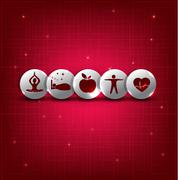Healthy living symbol set - stock illustration