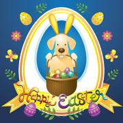 Easter Heading Label with Labrador Dog as Bunny Stock Illustration