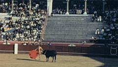 Spain 1963: torero and bull during corrida de toros Stock Footage