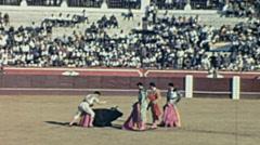 Spain 1963: killing the bull during a corrida de toros Stock Footage