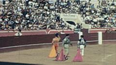 Spain 1963: matadores greeting spectators during a corrida de toros Stock Footage