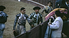 Spain 1963: toreros at the end of corrida de toros Stock Footage