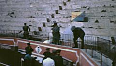 Spain 1963: people leaving the arena after the corrida de toros Stock Footage