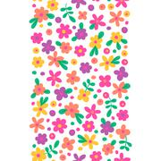 Seamless border with cute flowers - stock illustration