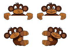 Monkey frame decoration - stock illustration