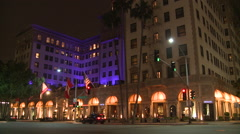 The luxurious Beverly Wilshire hotel in Los Angeles at night. - stock footage