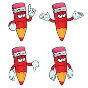 Bored cartoon pencils set Stock Illustration