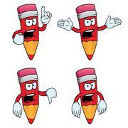 Very angry cartoon pencils set - stock illustration