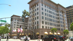The luxurious Beverly Wilshire hotel in Southern California. Stock Footage