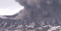 Close Up Of Volcanic Ash Erupting From Aso Volcano Stock Footage