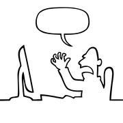 Angry man shouting at his computer - stock illustration