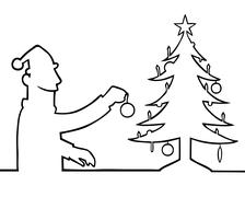 Man decorating a christmas tree Stock Illustration