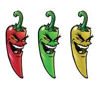 Evil hot chili peppers Stock Illustration