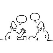 Two people having a friendly conversation Stock Illustration