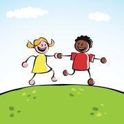 Two kids holding hands Stock Illustration