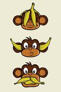 Three wise monkeys - stock illustration