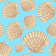 Sketch sea shell in vintage style - stock illustration