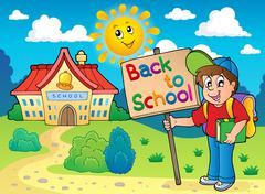 Boy with sign near school - stock illustration