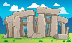 Ancient stone monument theme 2 - stock illustration