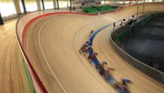 Cycling race Indoor track Stock Footage