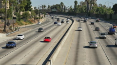 Overhead View of Traffic on Busy 101 Freeway in Los Angeles California Stock Footage