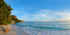 Tropical beach Source D'Argent at Seychelles - stock photo