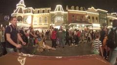 Time lapse of people leaving Magic Kingdom on Main Street Stock Footage