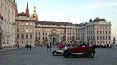 OLD RED CAR & CASTLE MATTHIAS, PRAGU, CZECH REPUBLIC Stock Footage