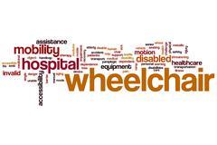 Wheelchair word cloud - stock illustration