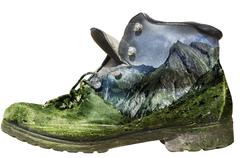 Mossy hiking boot isolated Stock Photos